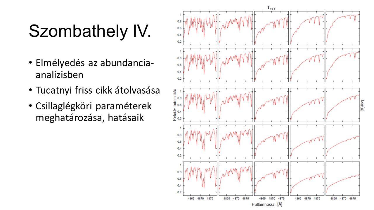 Szombathely IV. Elmélyedés az abundancia- analízisben