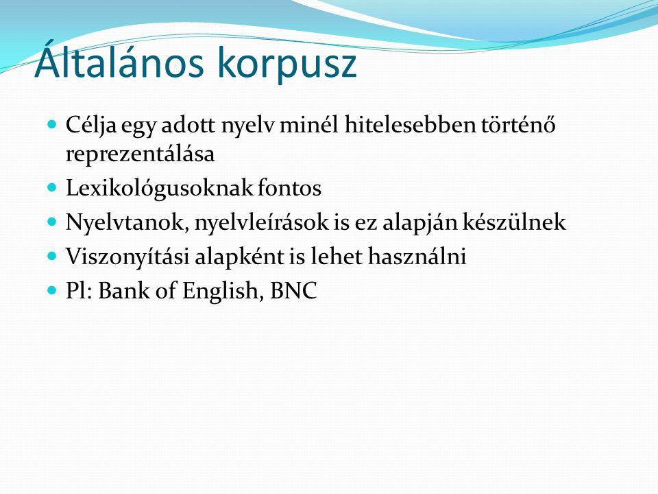 Általános korpusz Célja egy adott nyelv minél hitelesebben történő reprezentálása. Lexikológusoknak fontos.