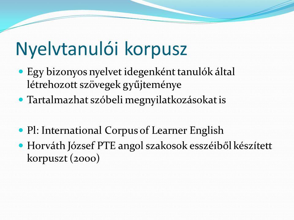 Nyelvtanulói korpusz Egy bizonyos nyelvet idegenként tanulók által létrehozott szövegek gyűjteménye.
