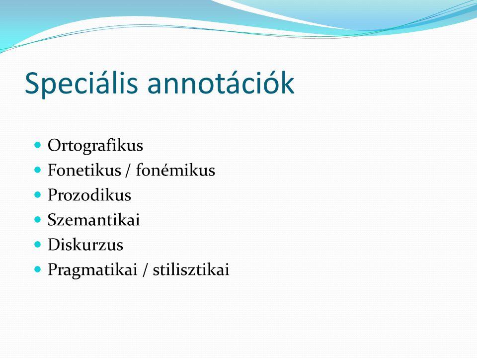 Speciális annotációk Ortografikus Fonetikus / fonémikus Prozodikus