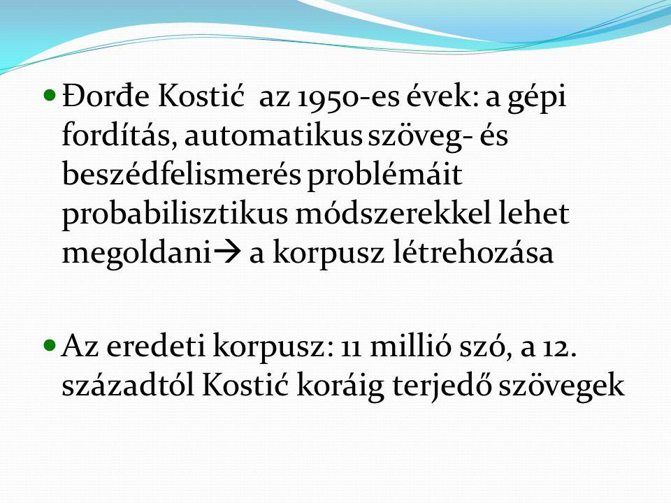 Đorđe Kostić az 1950-es évek: a gépi fordítás, automatikus szöveg- és beszédfelismerés problémáit probabilisztikus módszerekkel lehet megoldani a korpusz létrehozása