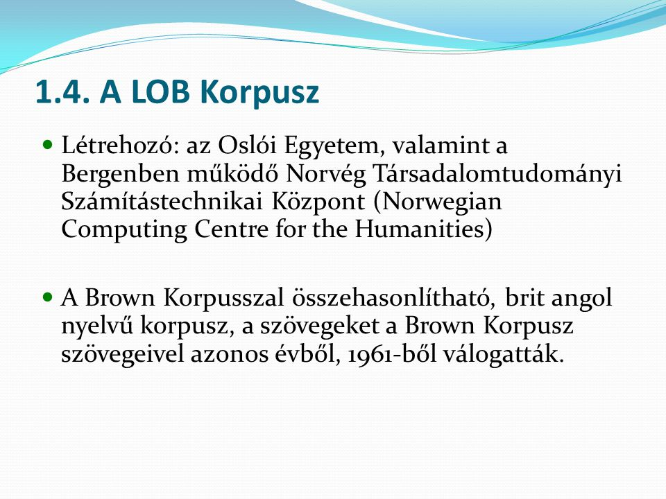 1.4. A LOB Korpusz