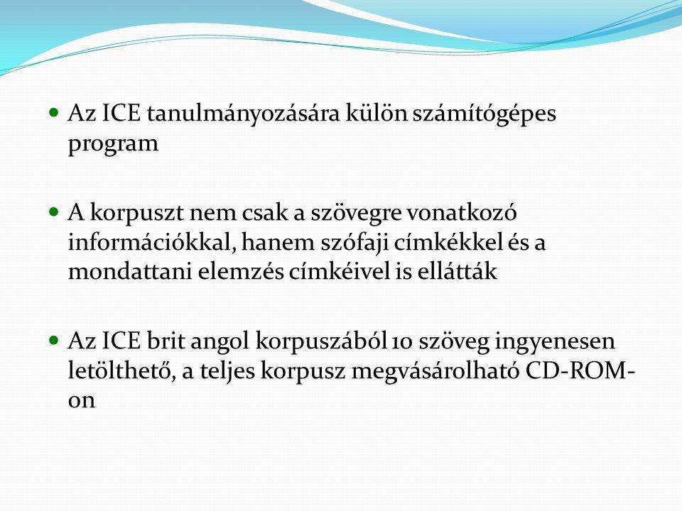 Az ICE tanulmányozására külön számítógépes program