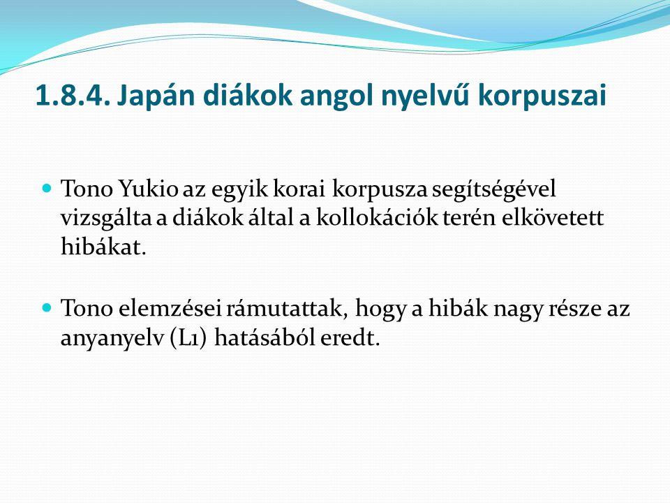 1.8.4. Japán diákok angol nyelvű korpuszai
