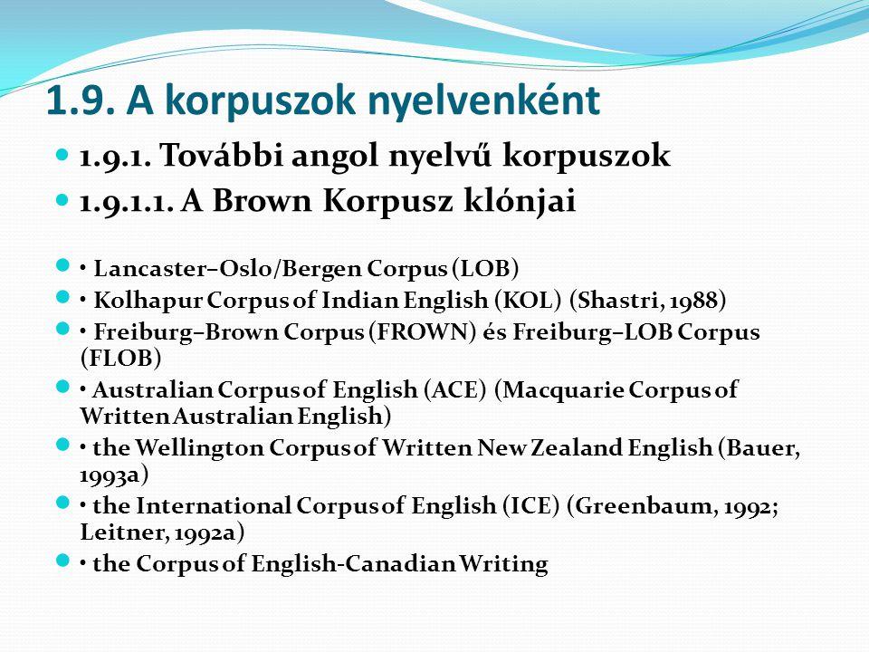1.9. A korpuszok nyelvenként