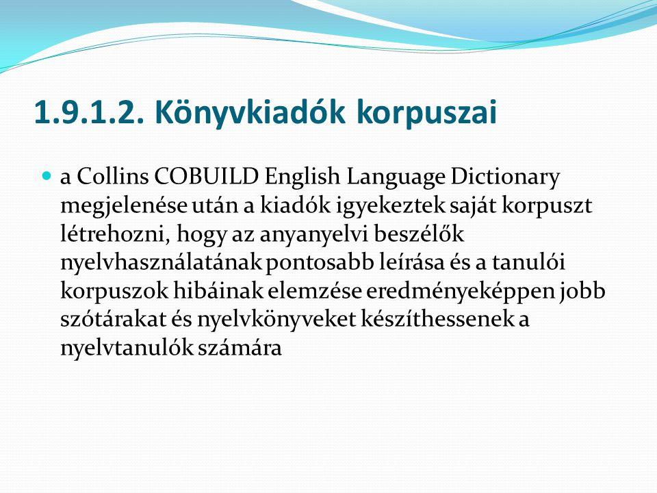 1.9.1.2. Könyvkiadók korpuszai