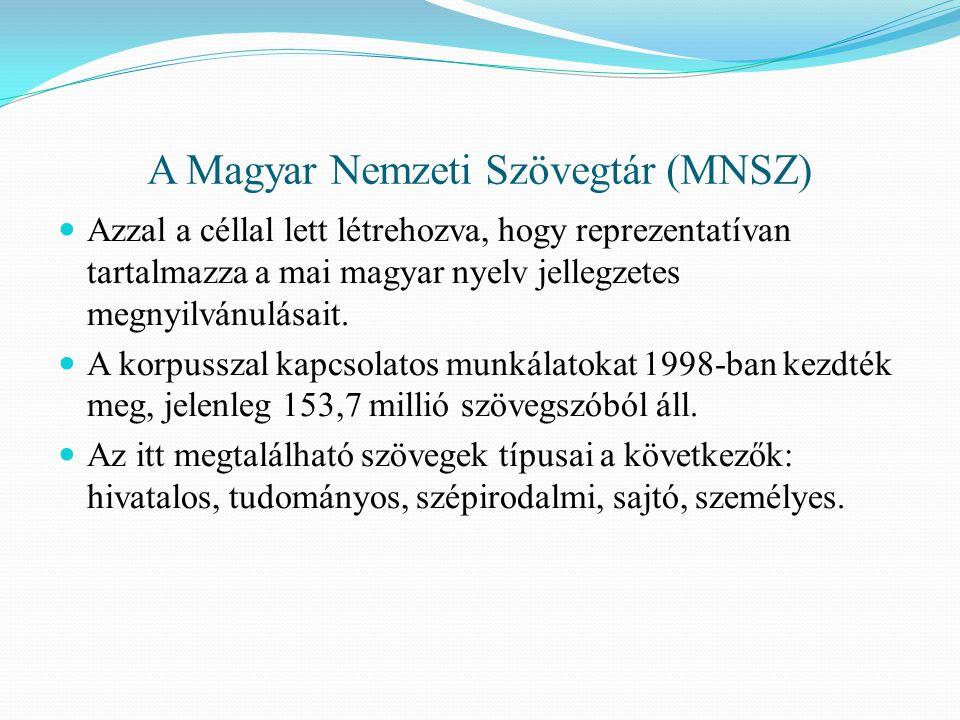 A Magyar Nemzeti Szövegtár (MNSZ)