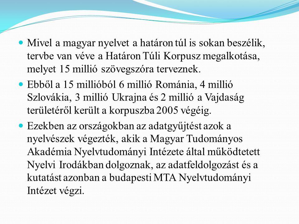 Mivel a magyar nyelvet a határon túl is sokan beszélik, tervbe van véve a Határon Túli Korpusz megalkotása, melyet 15 millió szövegszóra terveznek.