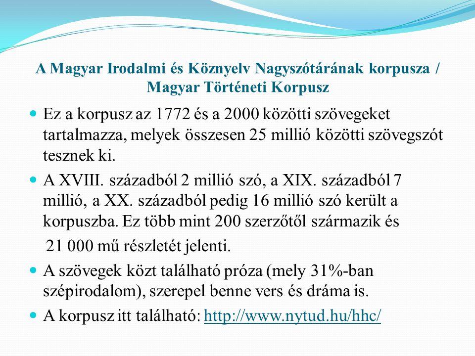 A korpusz itt található: http://www.nytud.hu/hhc/