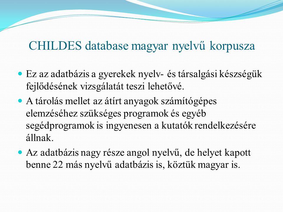 CHILDES database magyar nyelvű korpusza