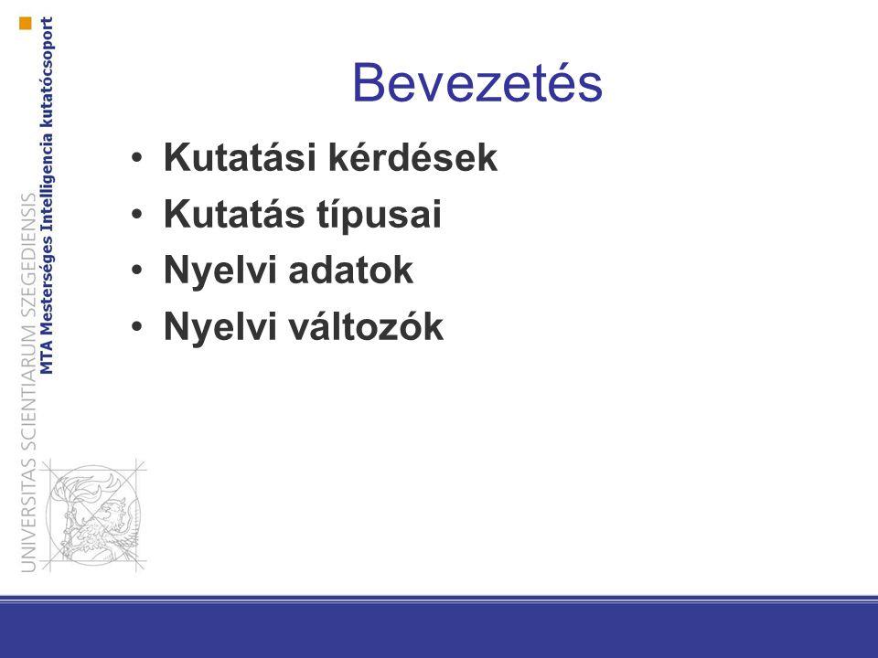 Bevezetés Kutatási kérdések Kutatás típusai Nyelvi adatok
