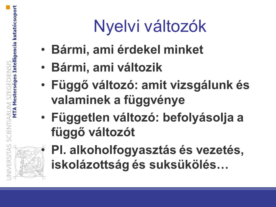 Nyelvi változók Bármi, ami érdekel minket Bármi, ami változik