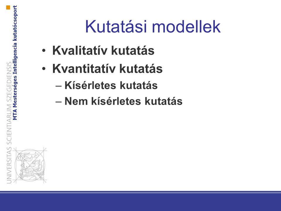 Kutatási modellek Kvalitatív kutatás Kvantitatív kutatás