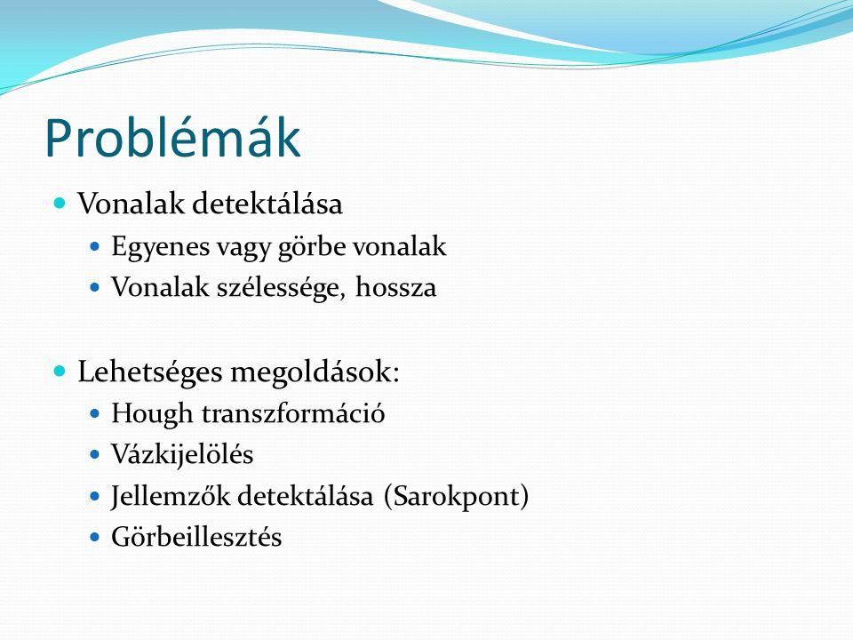 Problémák Vonalak detektálása Lehetséges megoldások: