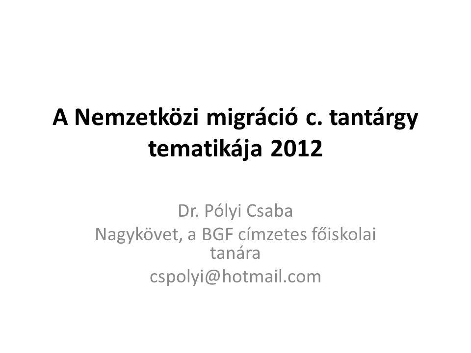 A Nemzetközi migráció c. tantárgy tematikája 2012