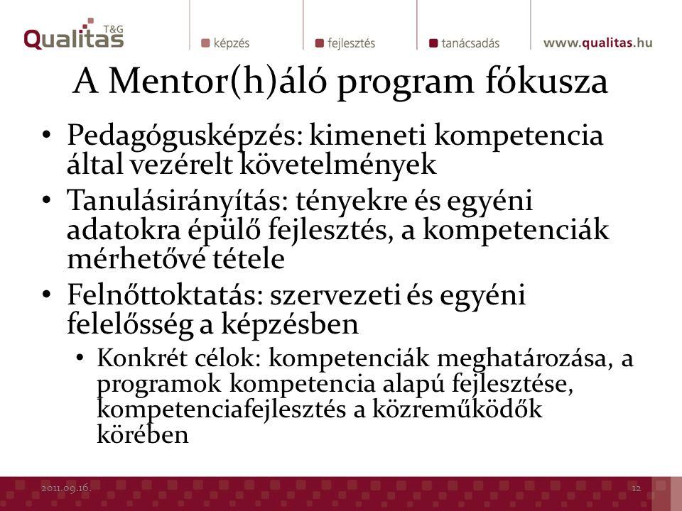 A Mentor(h)áló program fókusza