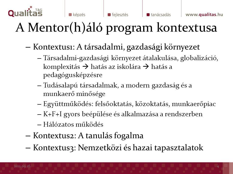 A Mentor(h)áló program kontextusa
