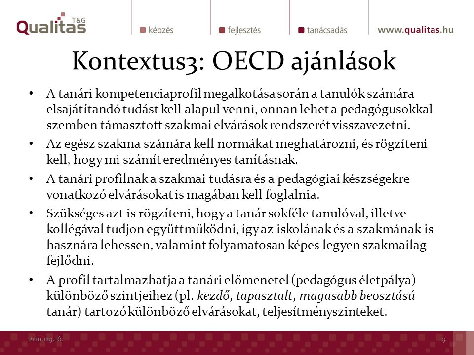 Kontextus3: OECD ajánlások