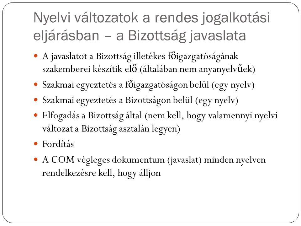 Nyelvi változatok a rendes jogalkotási eljárásban – a Bizottság javaslata