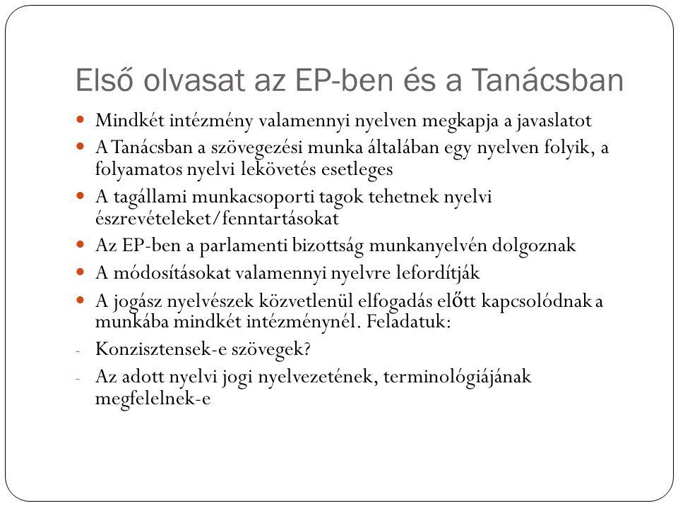 Első olvasat az EP-ben és a Tanácsban