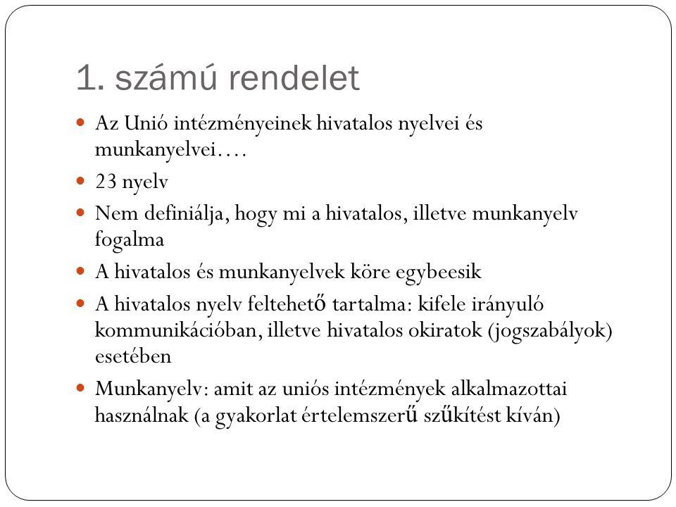 1. számú rendelet Az Unió intézményeinek hivatalos nyelvei és munkanyelvei…. 23 nyelv.