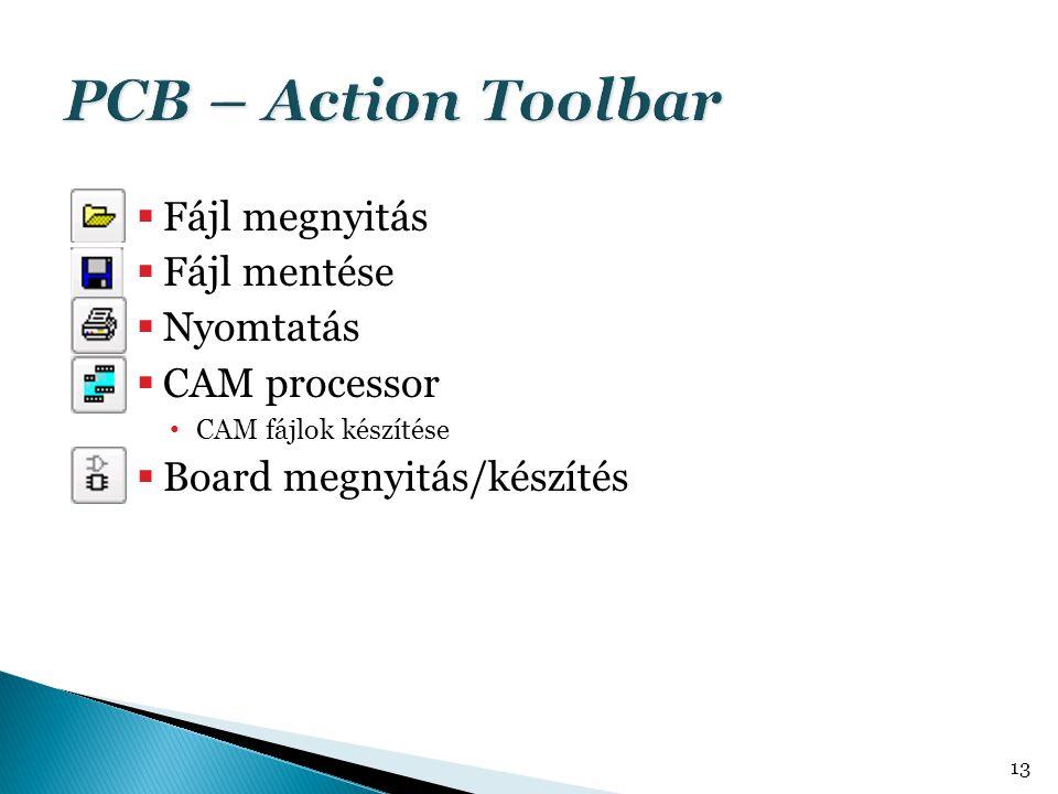 PCB – Action Toolbar Fájl megnyitás Fájl mentése Nyomtatás