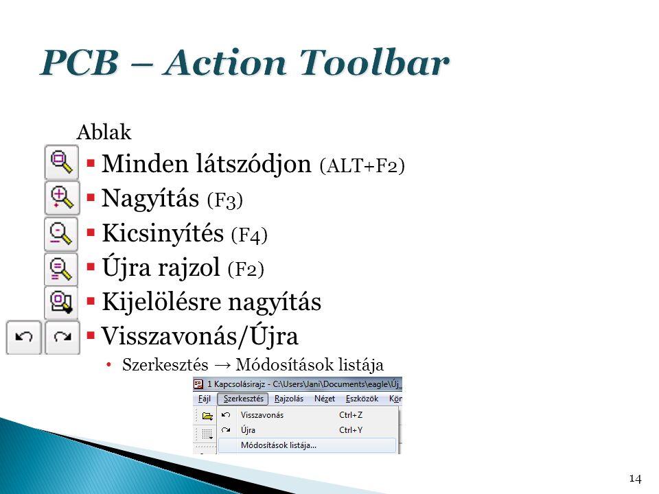 PCB – Action Toolbar Minden látszódjon (ALT+F2) Nagyítás (F3)