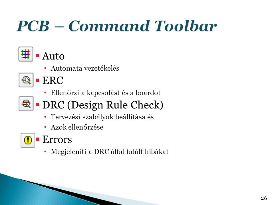 PCB – Command Toolbar Auto ERC DRC (Design Rule Check) Errors