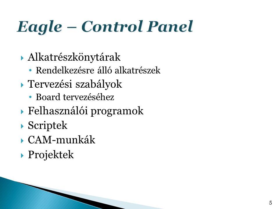 Eagle – Control Panel Alkatrészkönytárak Tervezési szabályok