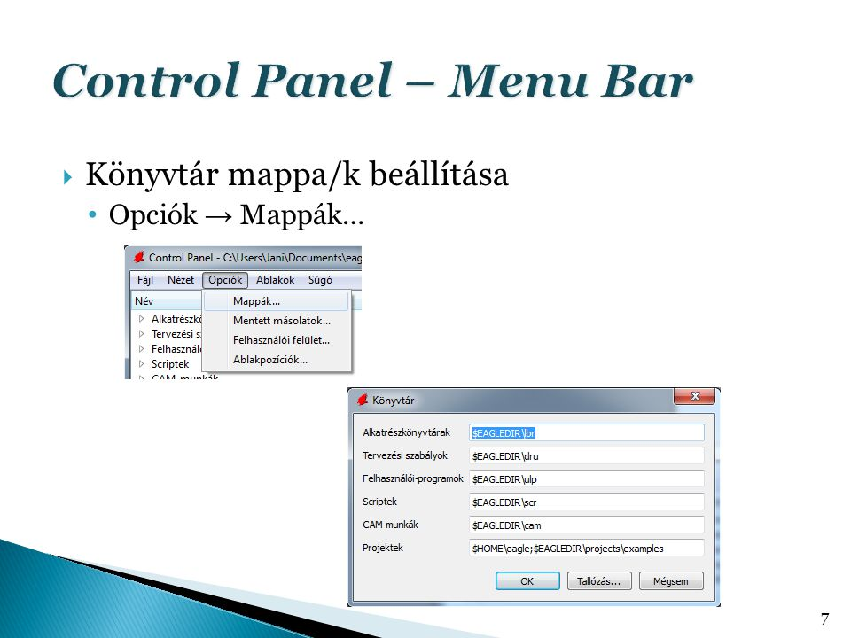 Control Panel – Menu Bar