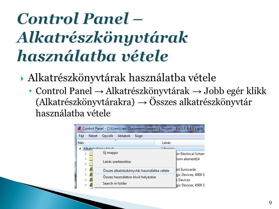 Control Panel – Alkatrészkönyvtárak használatba vétele
