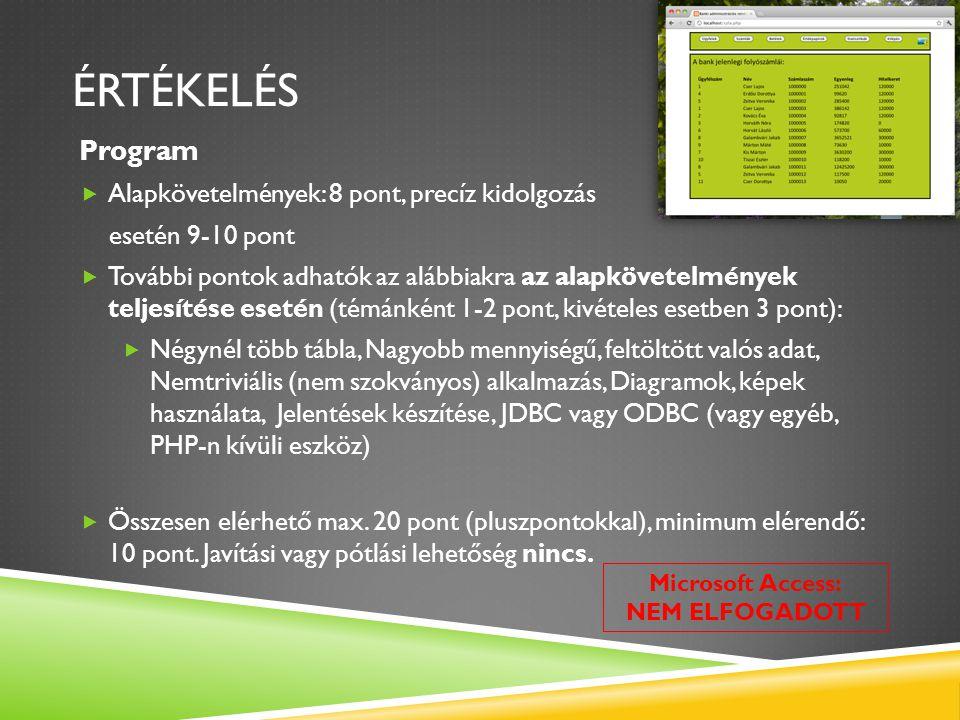 ÉRTÉKELÉS Program Alapkövetelmények: 8 pont, precíz kidolgozás