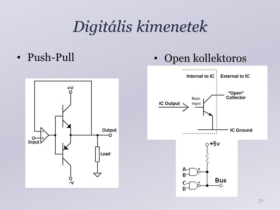 Digitális kimenetek Push-Pull Open kollektoros