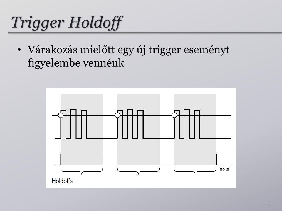 Trigger Holdoff Várakozás mielőtt egy új trigger eseményt figyelembe vennénk