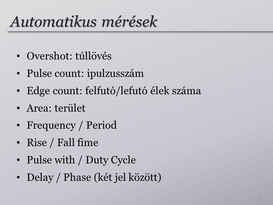 Automatikus mérések Overshot: túllövés Pulse count: ipulzusszám