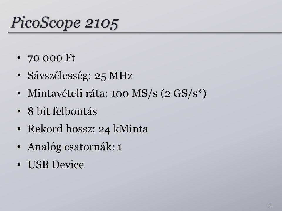 PicoScope 2105 70 000 Ft Sávszélesség: 25 MHz