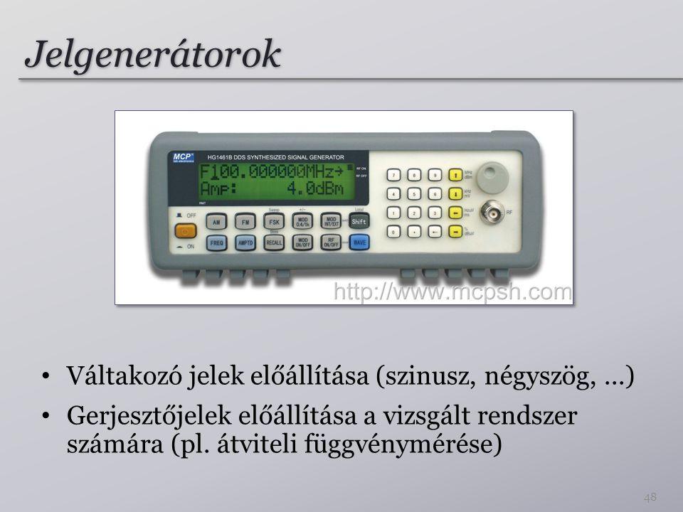 Jelgenerátorok Váltakozó jelek előállítása (szinusz, négyszög, ...)