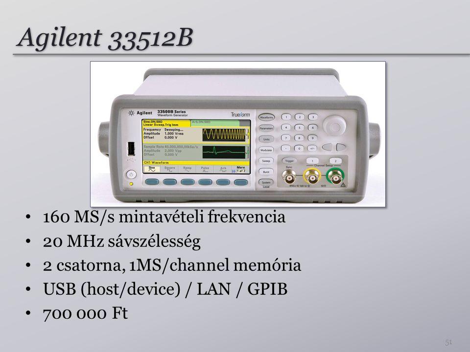 Agilent 33512B 160 MS/s mintavételi frekvencia 20 MHz sávszélesség
