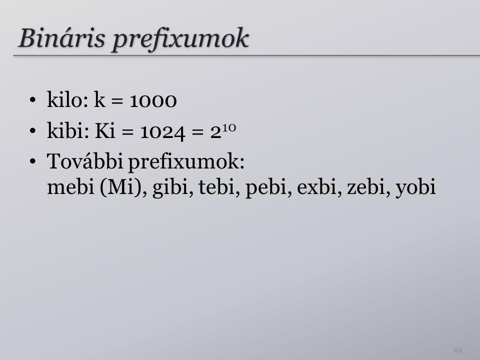 Bináris prefixumok kilo: k = 1000 kibi: Ki = 1024 = 210