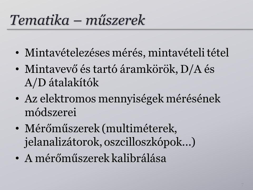 Tematika – műszerek Mintavételezéses mérés, mintavételi tétel