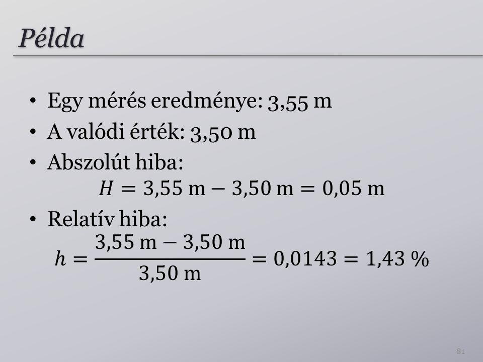 Példa Egy mérés eredménye: 3,55 m A valódi érték: 3,50 m