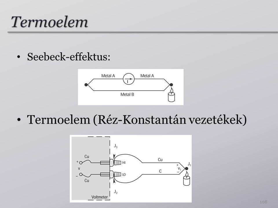 Termoelem Seebeck-effektus: Termoelem (Réz-Konstantán vezetékek)