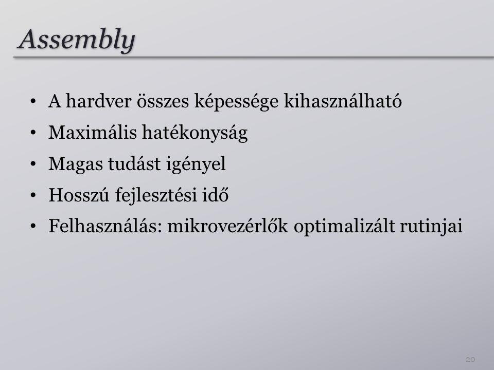 Assembly A hardver összes képessége kihasználható