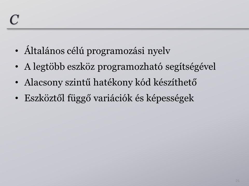 C Általános célú programozási nyelv