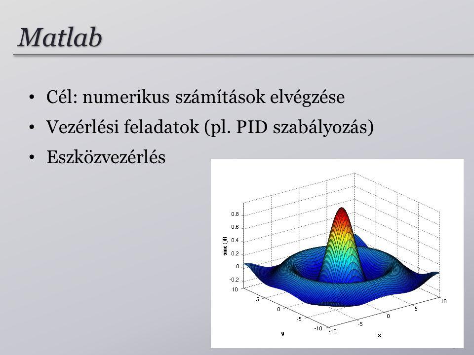 Matlab Cél: numerikus számítások elvégzése
