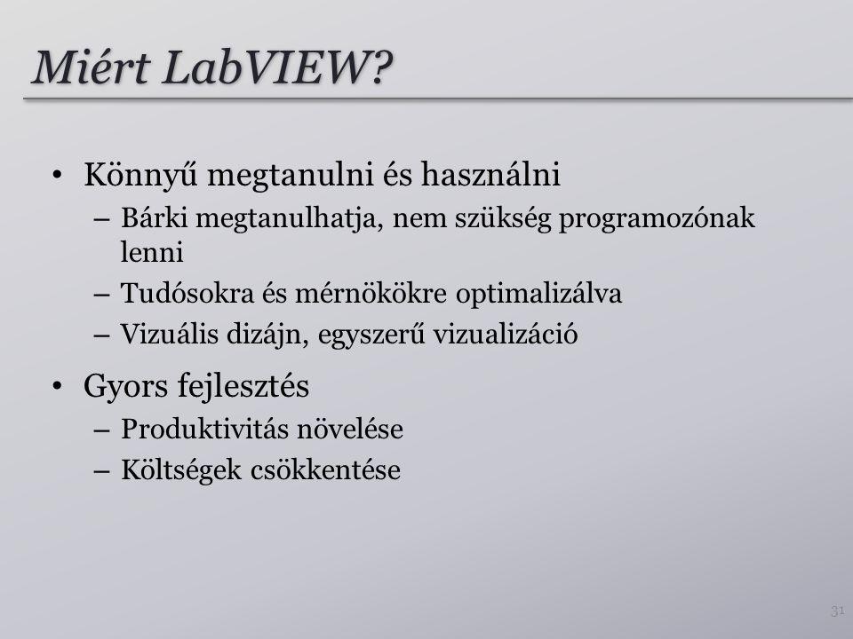 Miért LabVIEW Könnyű megtanulni és használni Gyors fejlesztés