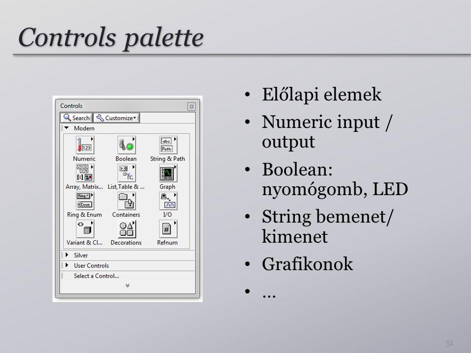 Controls palette Előlapi elemek Numeric input / output