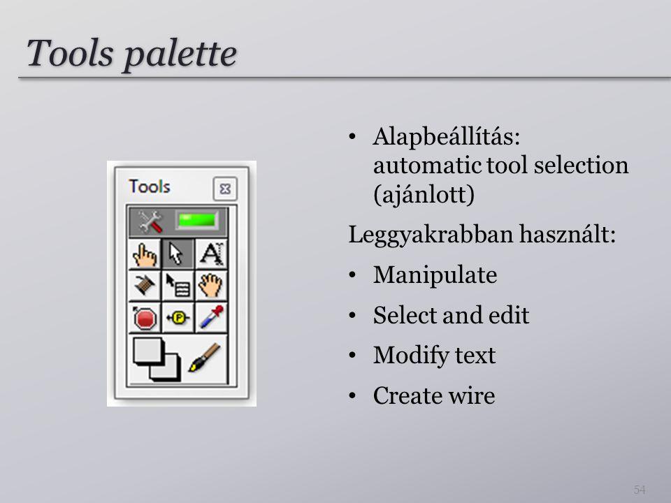 Tools palette Alapbeállítás: automatic tool selection (ajánlott)