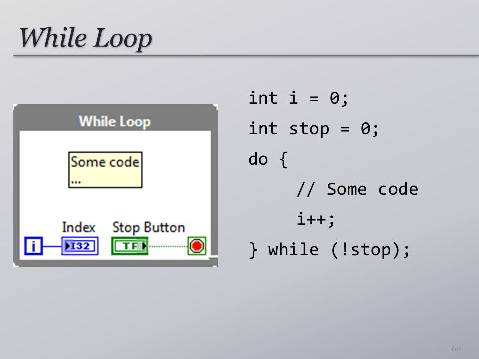 While Loop int i = 0; int stop = 0; do { // Some code i++;