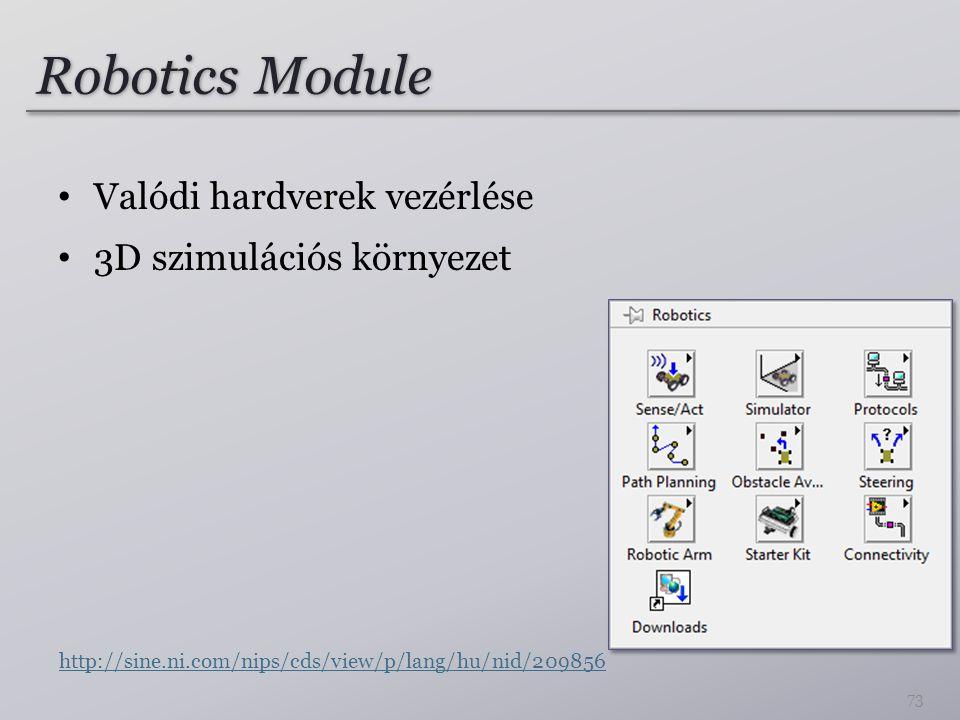 Robotics Module Valódi hardverek vezérlése 3D szimulációs környezet
